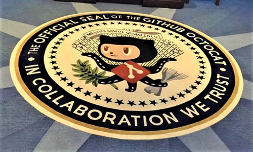 The GitHub Octocat on the floor of the company's headquarters